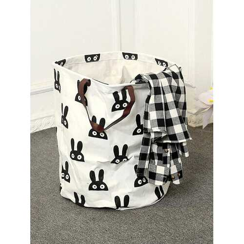 Canvas Laundry Storage Basket Toys Container