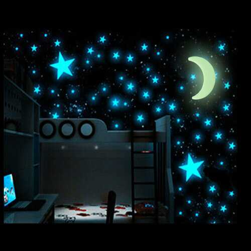 100Pcs Glow In The Dark Stars  Sticker Beautiful 3D DIY Home Decal Art Luminous Wall Stickers For Baby Kids Bedroom Decor