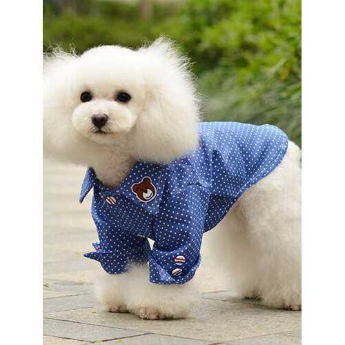 Fashion Dog Denim Dot Shirts Vests Casual Cotton Pet Dogs Clothes Cool Lapel T Shirt For Puppy Cats