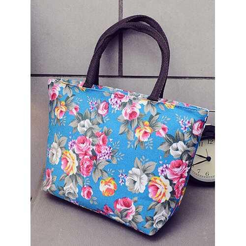 Flower Style Woman Lady Lunch Tote Bag Travel Food Organizer Storage Bag Handbag