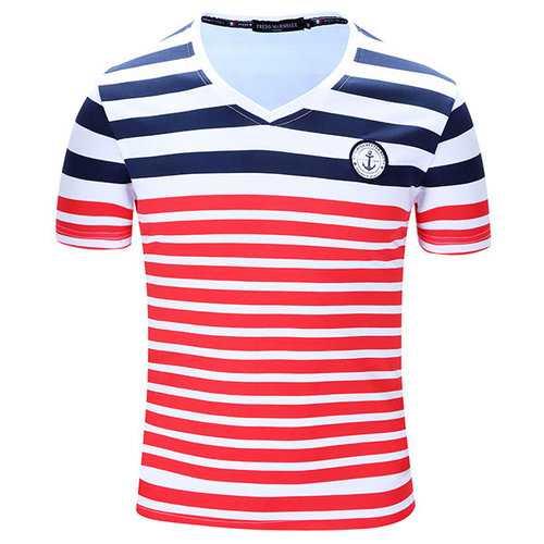 100% Cotton Striped Printing  V-Neck T-Shirt
