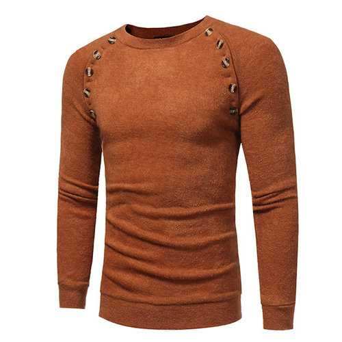 Buttons Design Knitted Long Sleeve Casual Sweater