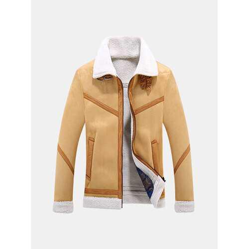 Casual Lapel Collar Thicken Fleece Jacket