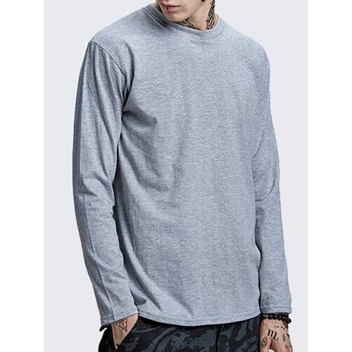 100% Cotton Casual Solid O-neck Long Sleeve T-shirt for Men