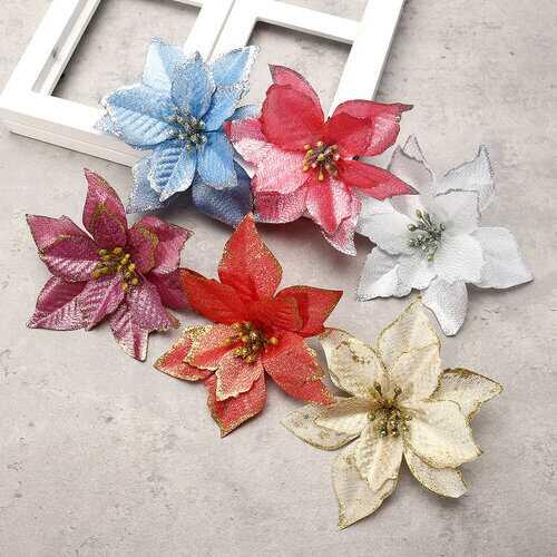 10Pcs Xmas Tree Ornaments Santa Artificial Glitter Flowers