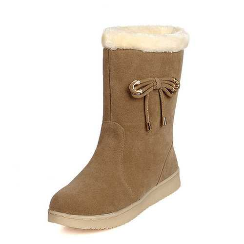 Bowknot Suede Warm Boots