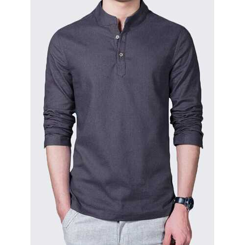 Mens Linen Solid Color Casual T-shirts
