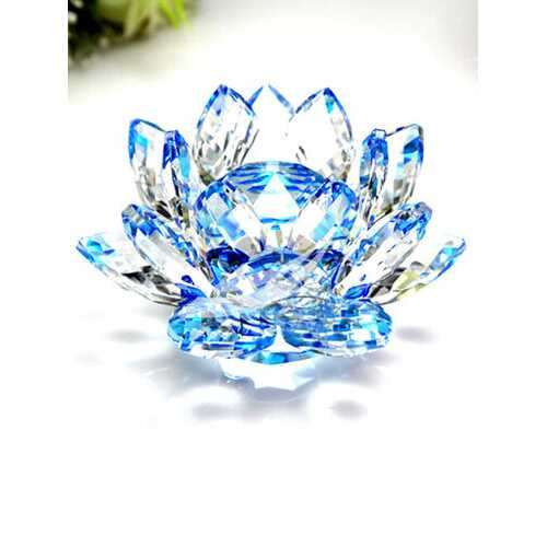 Lotus Crystal Glass Candlestick Figure Paperweight Ornament