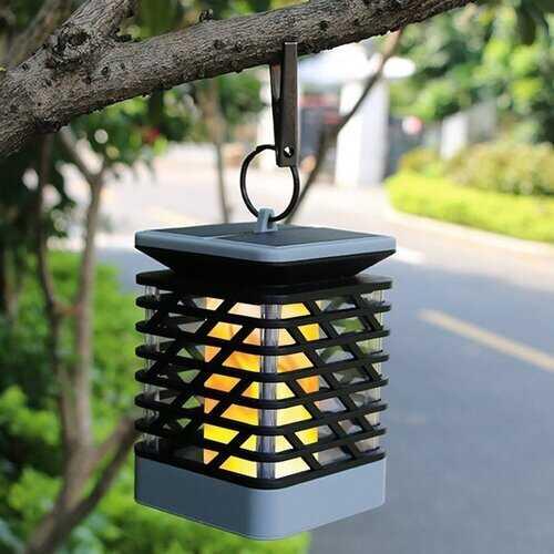 Powered 75 LED Flame Effect Hanging Lantern Light Garden