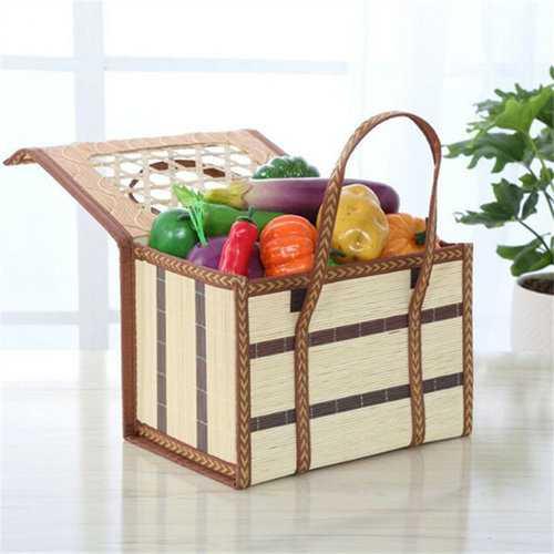 Folding Bamboo Storage Basket