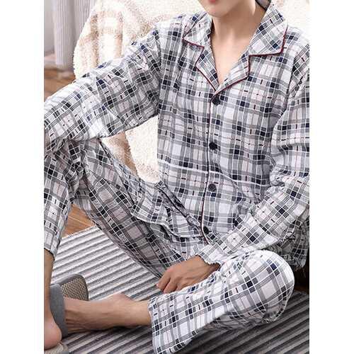Mens Home Long Sleeve Pockets Loose Pajamas Sets