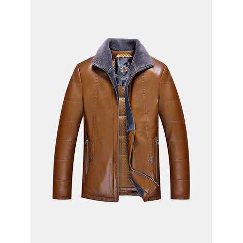 Business Fleece Faux Leather Jacket