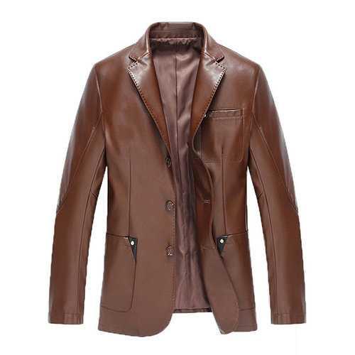 Chest Pocket Faux Leather Blazers Jacket