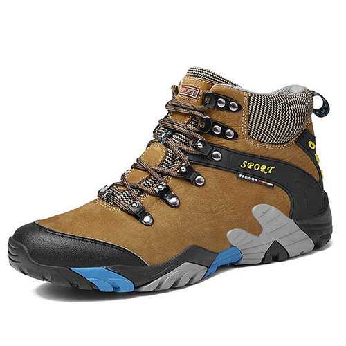 Large Size Men Genuine Leather Waterproof Outdoor Hiking Sho