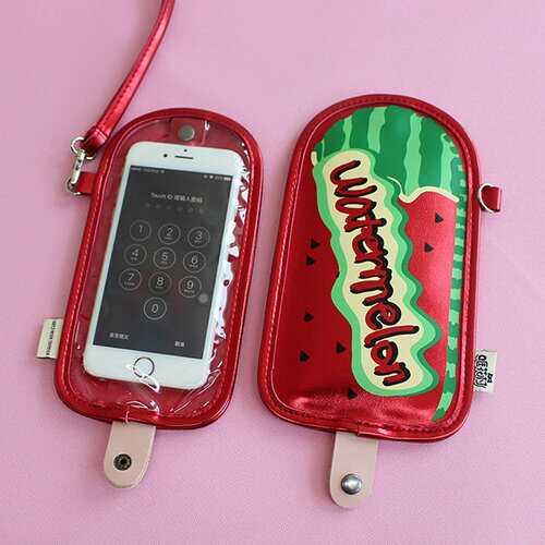 Ceative Fruits Print Neck lanyard Wallet Phone Bag
