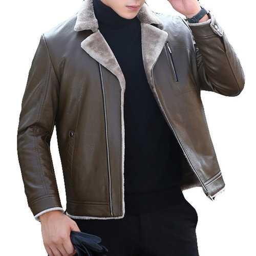 Zipper Up Faux Leather Jacket