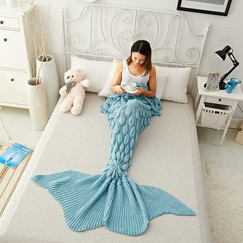 Handmade Knitting Yarn Mermaid Tail Blanket Throw