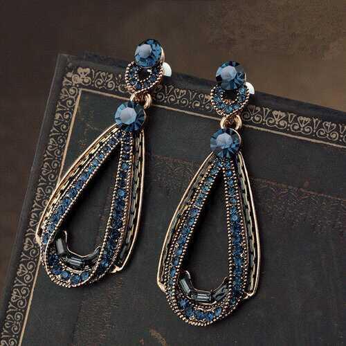 Luxury Blue Crystal Ear Drop