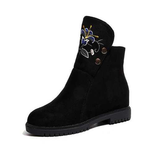 Black  Flower Print Ankle Boots