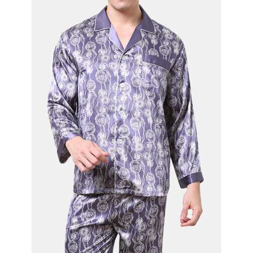 Soft Faux Silk Printing Red Home Long Sleeve Pajama Sets for