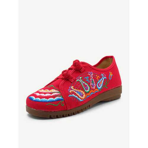 Chinese Button Embroidery Flat Shoes
