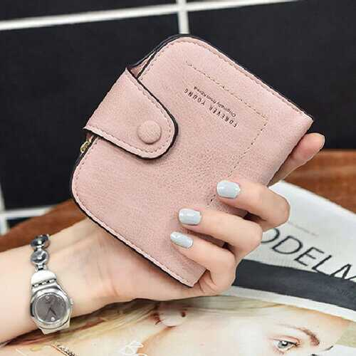 Women Buckle Purse Multi-card Zipper Wallet Short Wallet Clutch Bag