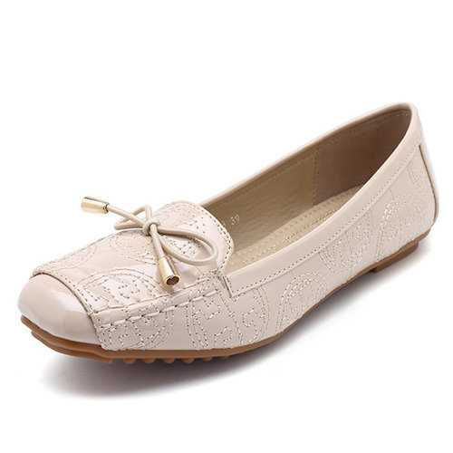 Almond Toe Portable Bow Flat Soft Loafers For Women