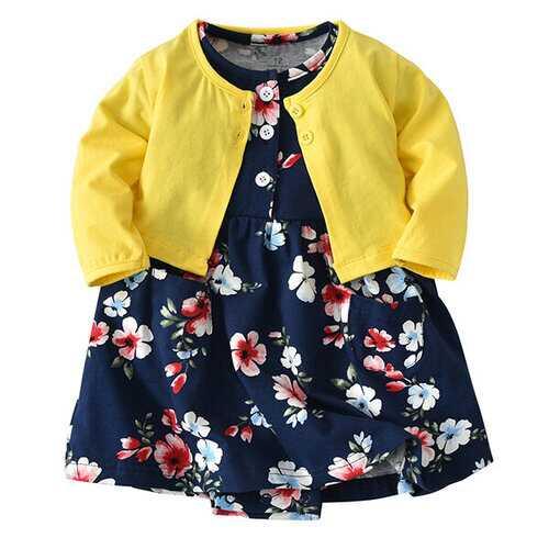 2pcs Baby Girls Romper Dresses + Coat