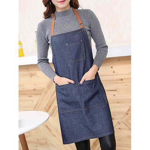Simple Style Denim  Kitchen Sleeveless Apron