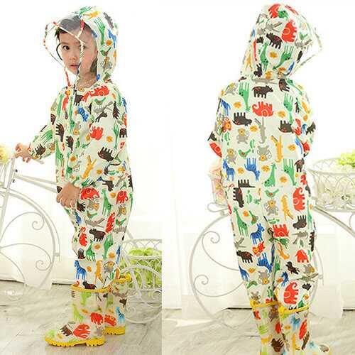 Hooded Boys Girl Raincoat For 1Y-7Y