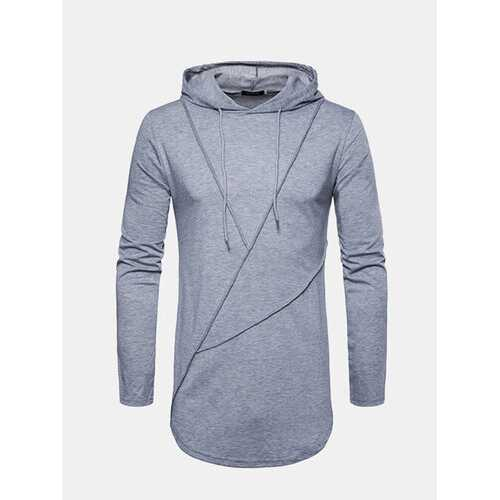Brief Solid Color Hooded T-shirts
