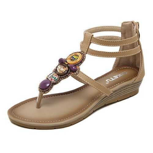 Beaded Bohemia Zipper Roman Sandals