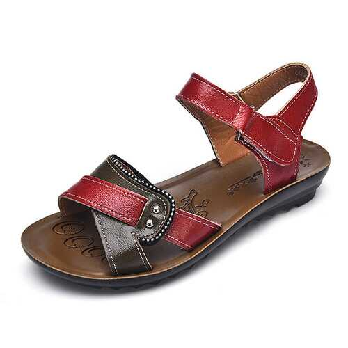 Leather Hook Loop Comfy Sandals