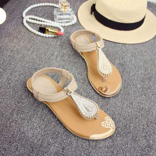 Beaded Clip Toe Elastic Sandals