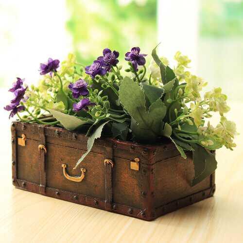 Resin Suitcase Flower Pot
