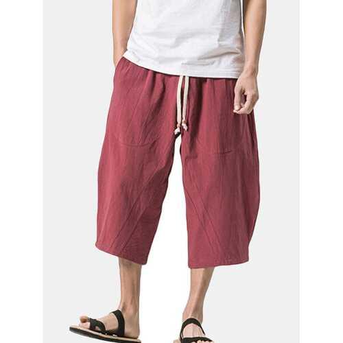 Baggy Loose Linen Calf Length Casual Shorts