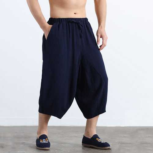100%Cotton Calf Length Wide Legs Pants
