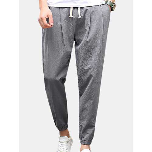 Breathable Cotton Drawstring Casual Pants