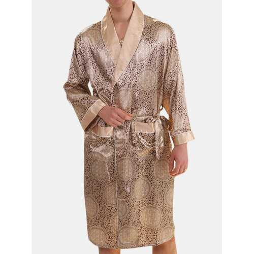 Men Faux Silk Sleep Robe