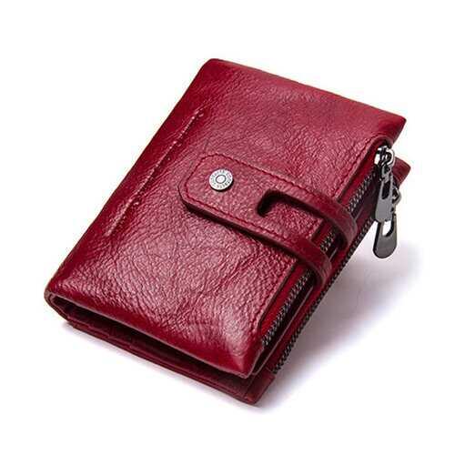 Retro Genuine Leather Multi-slots Short Wallet