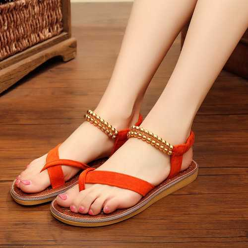 Beaded Slip On Palm Fibre Beach Sandals