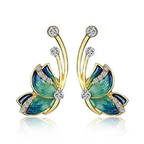 Luxury Butterfly Crystal Gold Earrings