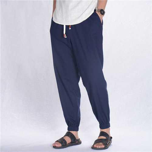 Breathable Cotton Linen Drawstring Casual Pants
