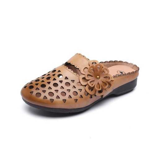 Backless Flower Hollow Leather Loafers