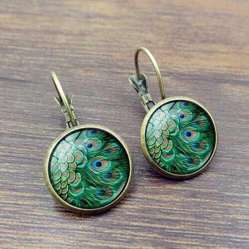 Vintage Peacock Feathers Gem Earrings