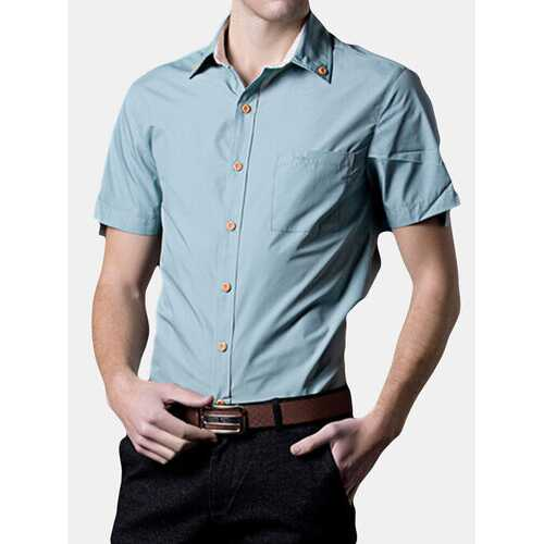 Casual Solid Color Wood Button Shirts
