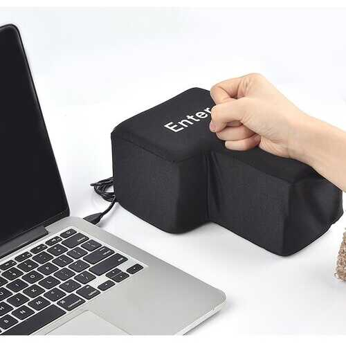 Slow Rebound Funny Big Enter Key Button USB Nap Pillow Stress Release Relief Enter Key Unbreakable