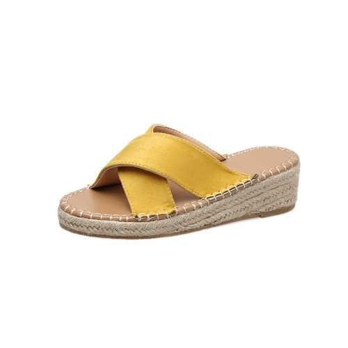 Straw Slip Resistant Platforms Sandals