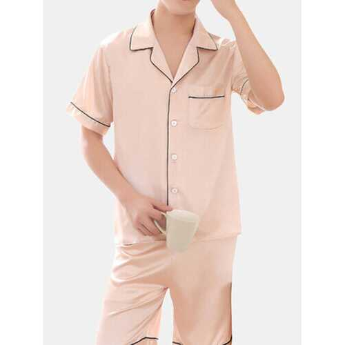 Breathable Luxury Stain Ice Silk Pajamas