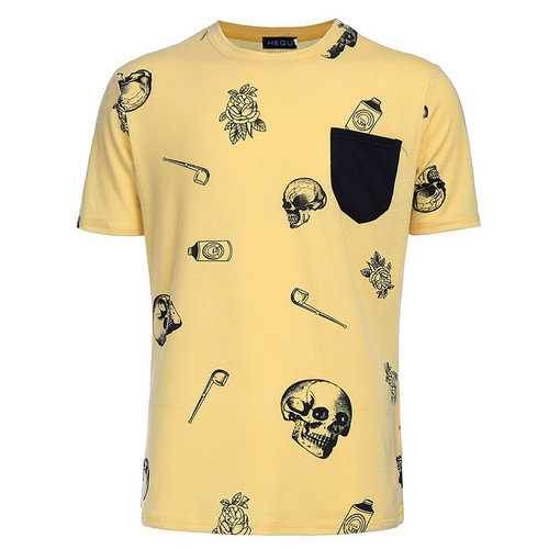 Funny Skull Printed Casual T Shirt